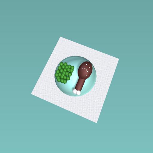 Peas and chicken leg