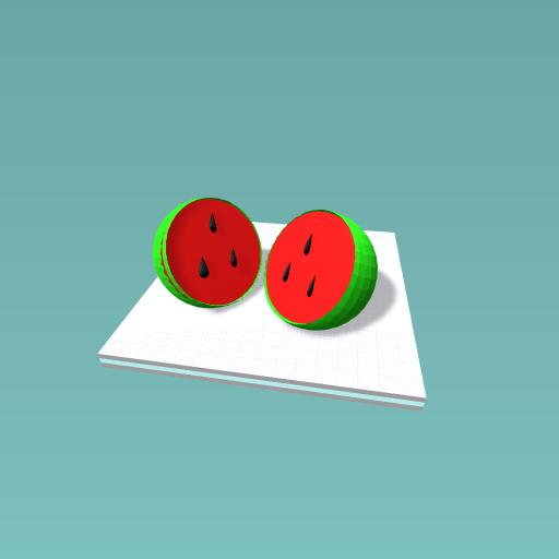 one watermelon in half