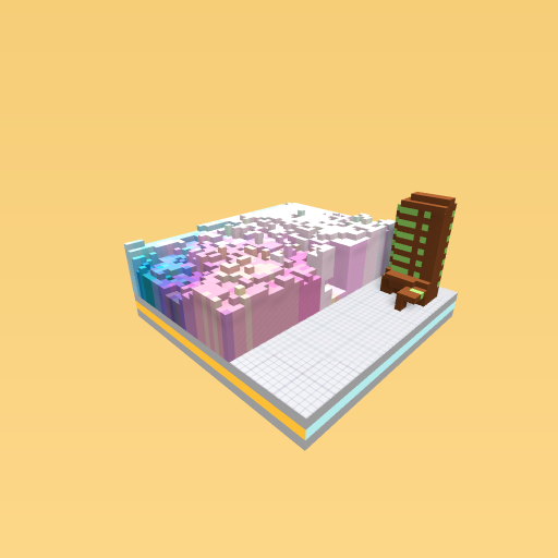 Pastel ocean with a building at night!