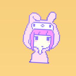 Girl in a bunny onesie