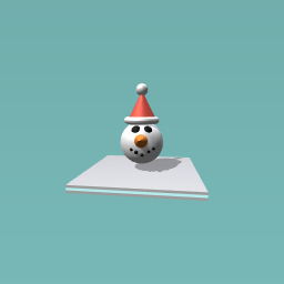 snowman wearing christmas hat