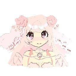 Georgous angel pink anime bride