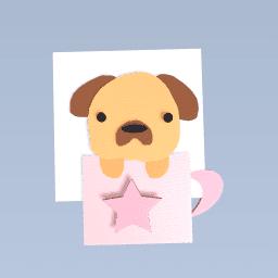 Cute pug in a cup