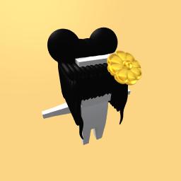 Black Hair with flower