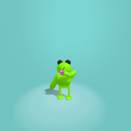 Frog that is standing up and eating grapes