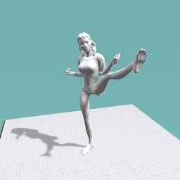 Girl doing karate kick