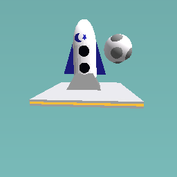 modern rocket on the moon