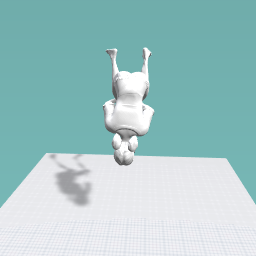 she is doing a backflip