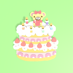 Cute cake with bear on top!!