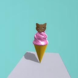 A kitty cat ice cream cone