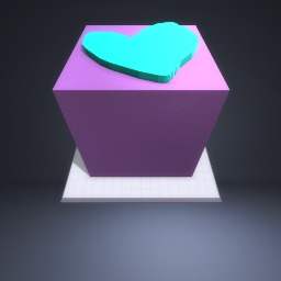 A purple box and a blue loveheart