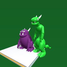 Purple & a green monster