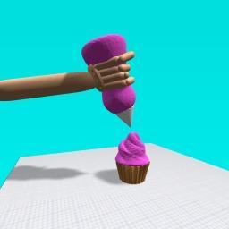icing a cupcake
