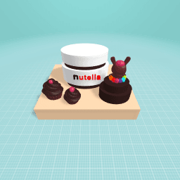 nutella with cakes,cupcaes.