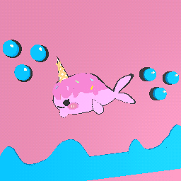Pink whale/narwhal