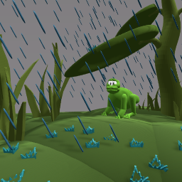 Frog hiding from rain