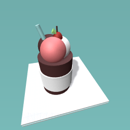neapolitan icecream with a cherry and a straw