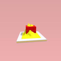 A rubix cube in a mountain