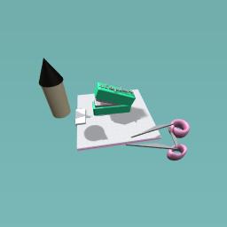 Pencil,stapler,earaser,siccors!